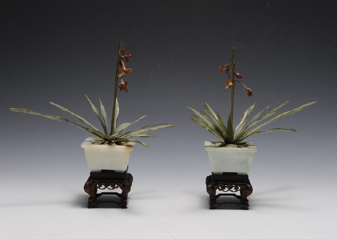 Pair of Chinese Planters w/ Amber & Jade, 19th C. - 2