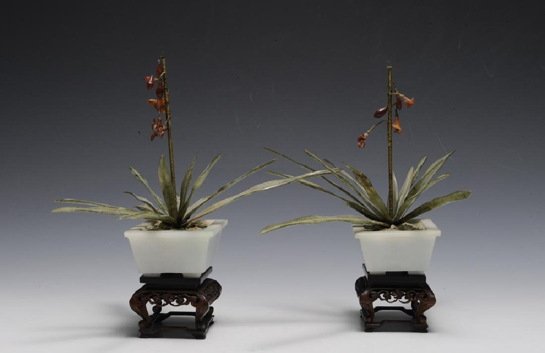 Pair of Chinese Planters w/ Amber & Jade, 19th C. - 4
