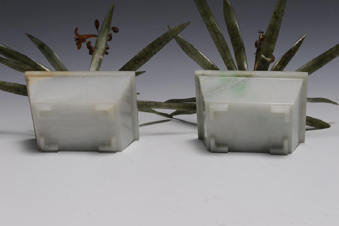 Pair of Chinese Planters w/ Amber & Jade, 19th C. - 5