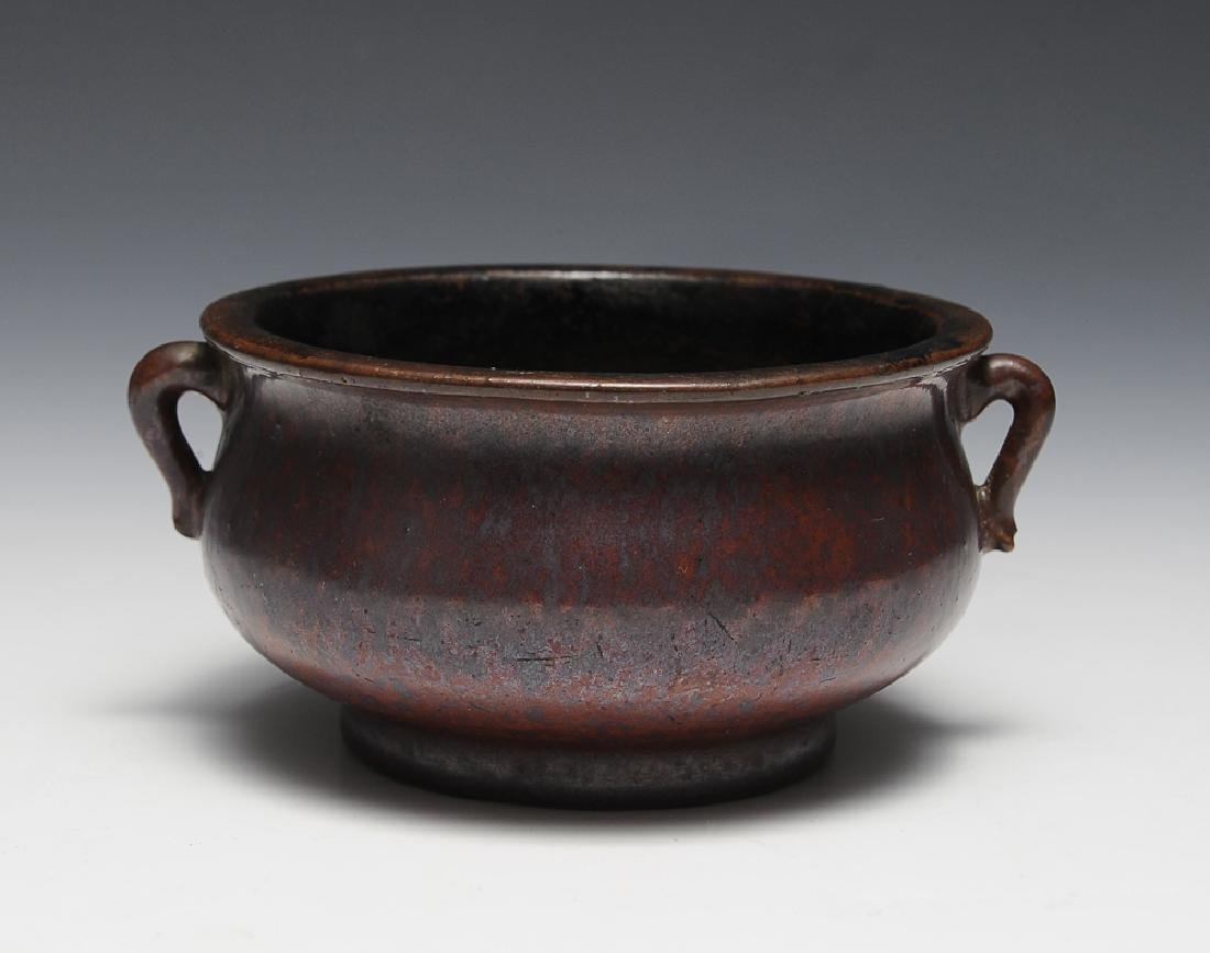 Chinese Purple Glazed Incense Burner, 18th C