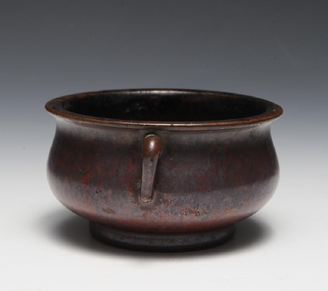 Chinese Purple Glazed Incense Burner, 18th C - 2