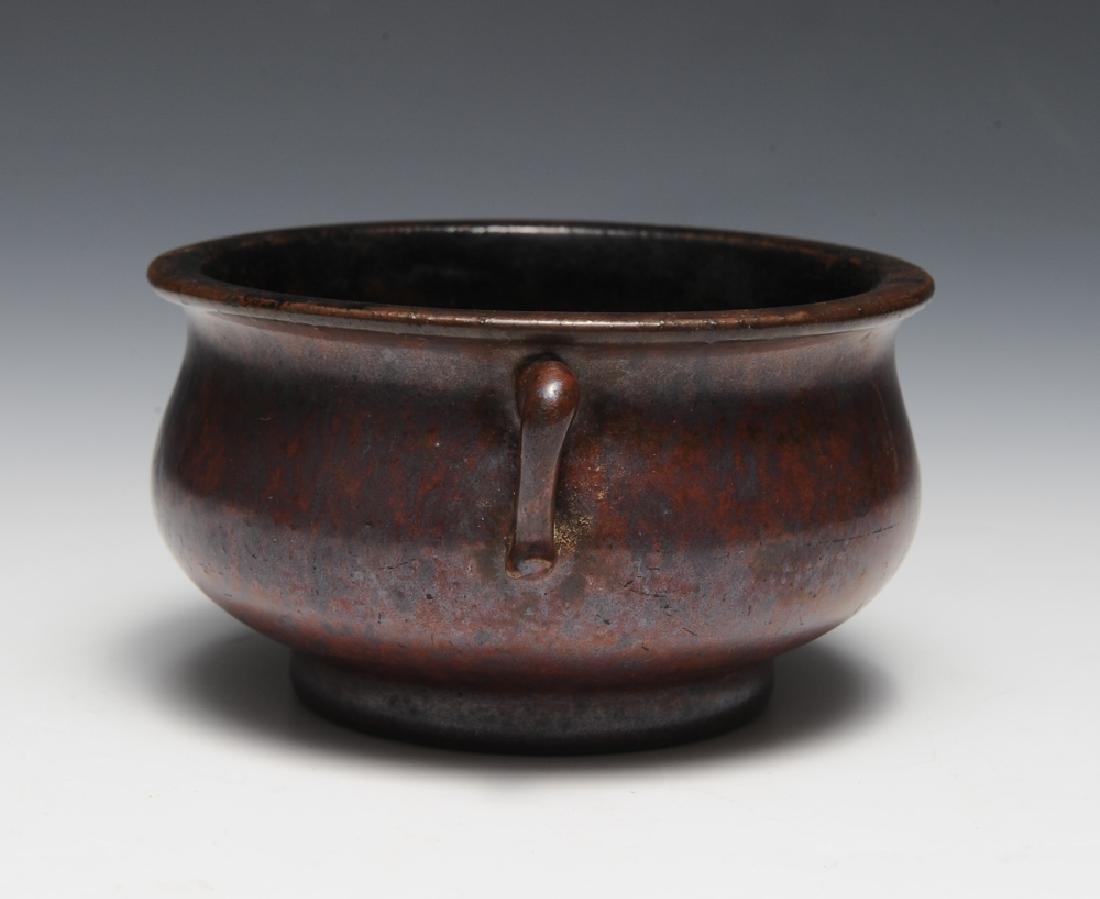 Chinese Purple Glazed Incense Burner, 18th C - 4
