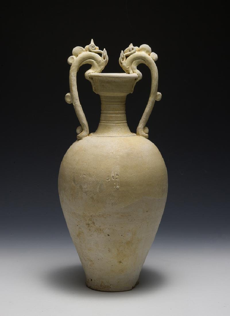 White Glaze Dragon Handle Vase, Tang Dynasty