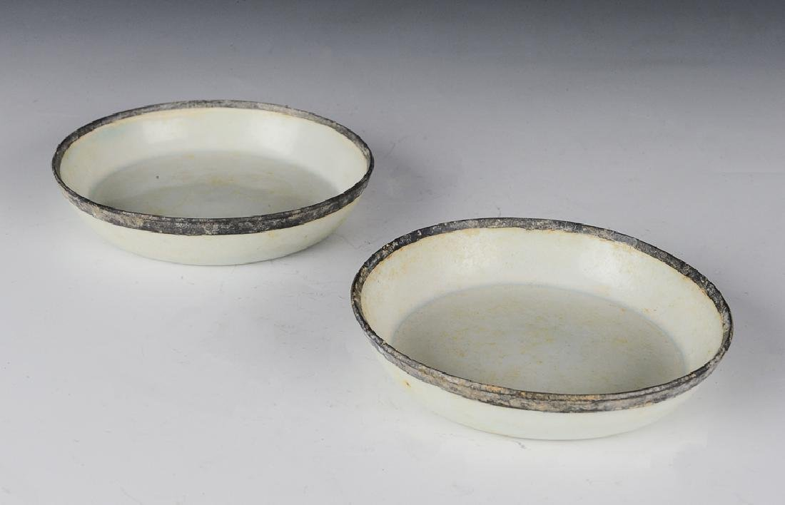 Pair of White Glaze Plates w/ Copper Rims, Song