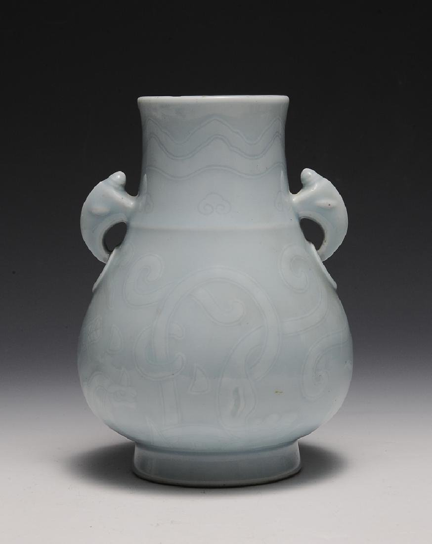 Chinese Celadon Glazed Vase w/ Chilong, Republic