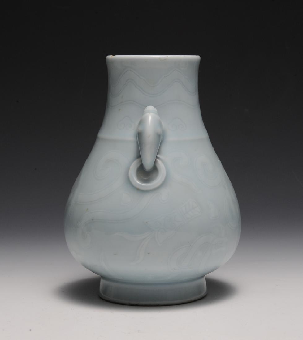 Chinese Celadon Glazed Vase w/ Chilong, Republic - 2