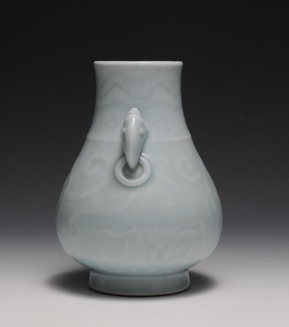 Chinese Celadon Glazed Vase w/ Chilong, Republic - 4