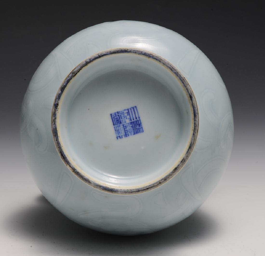 Chinese Celadon Glazed Vase w/ Chilong, Republic - 5