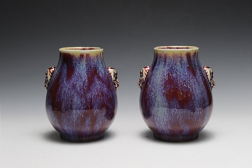 Pair of Chinese Flambe Elephant Vases, 19th C