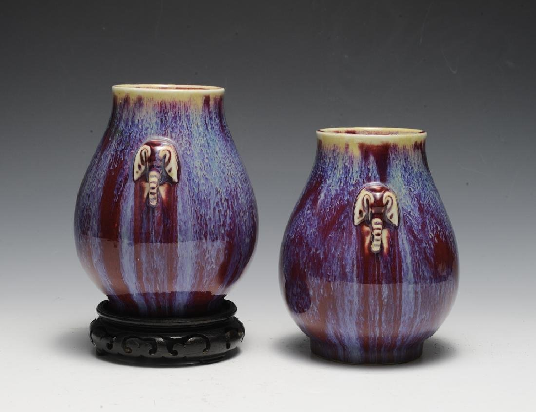 Pair of Chinese Flambe Elephant Vases, 19th C - 2