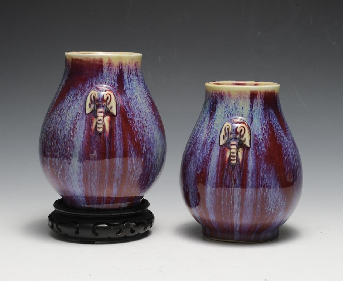 Pair of Chinese Flambe Elephant Vases, 19th C - 4