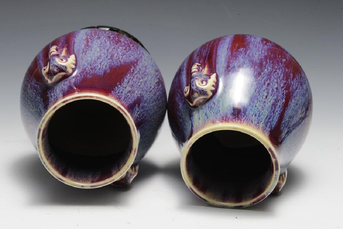 Pair of Chinese Flambe Elephant Vases, 19th C - 6