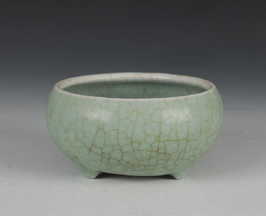 Chinese Green Ge Glaze Tripod Censer, 18th C