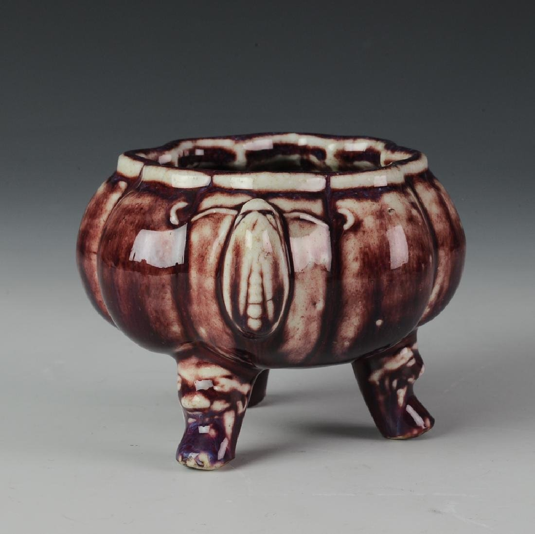 Chinese Flambe Tripod Incense Burner, 18-19th C - 3