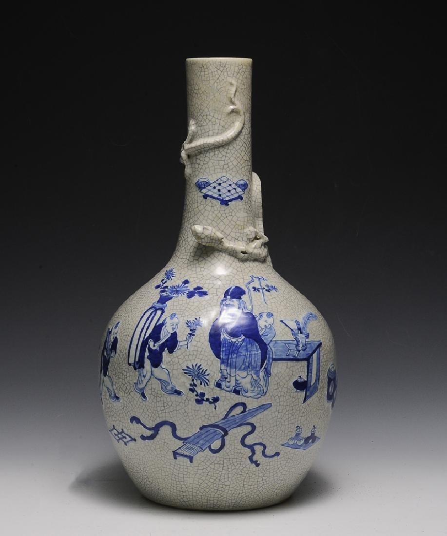 Chinese Ge Glaze Blue & White Vase, 19th C