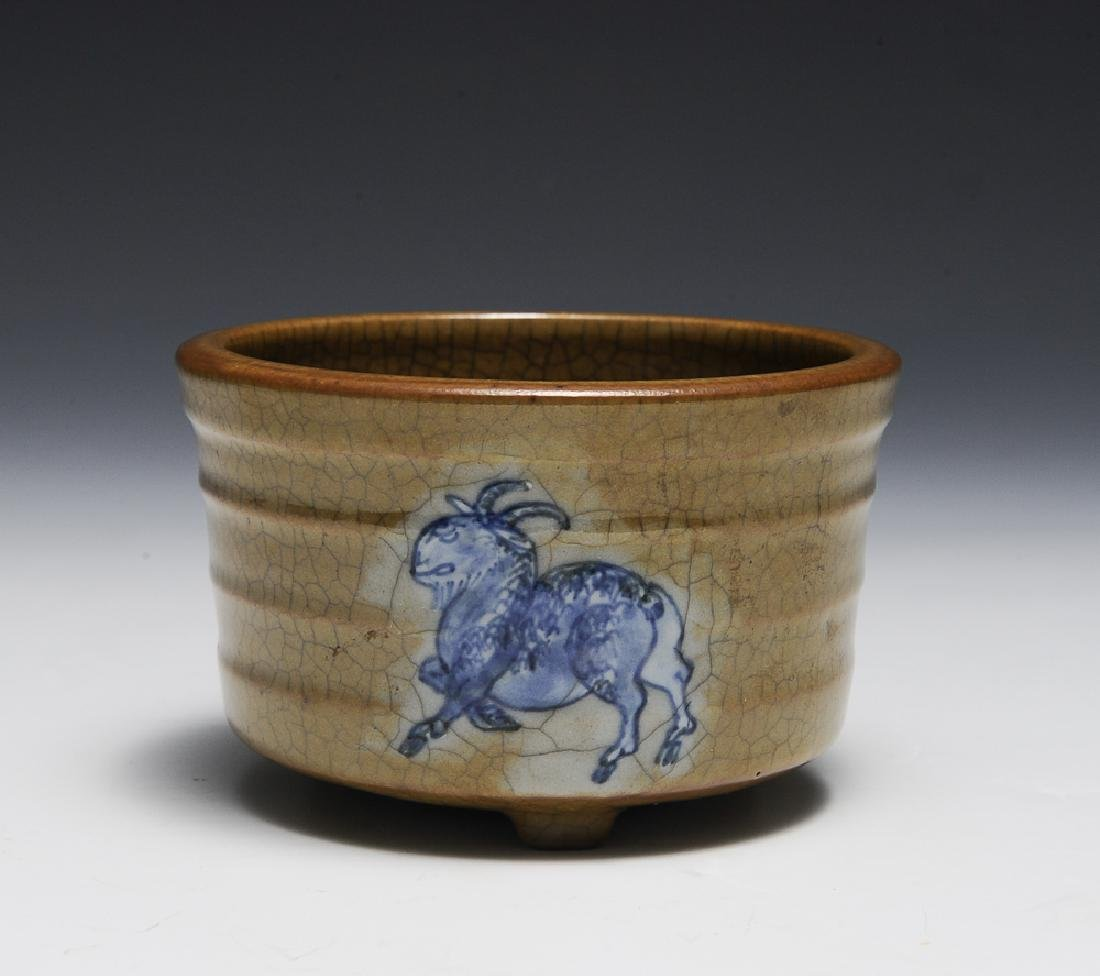 Chinese Ge Glaze Censer w/ Goats, 18th C