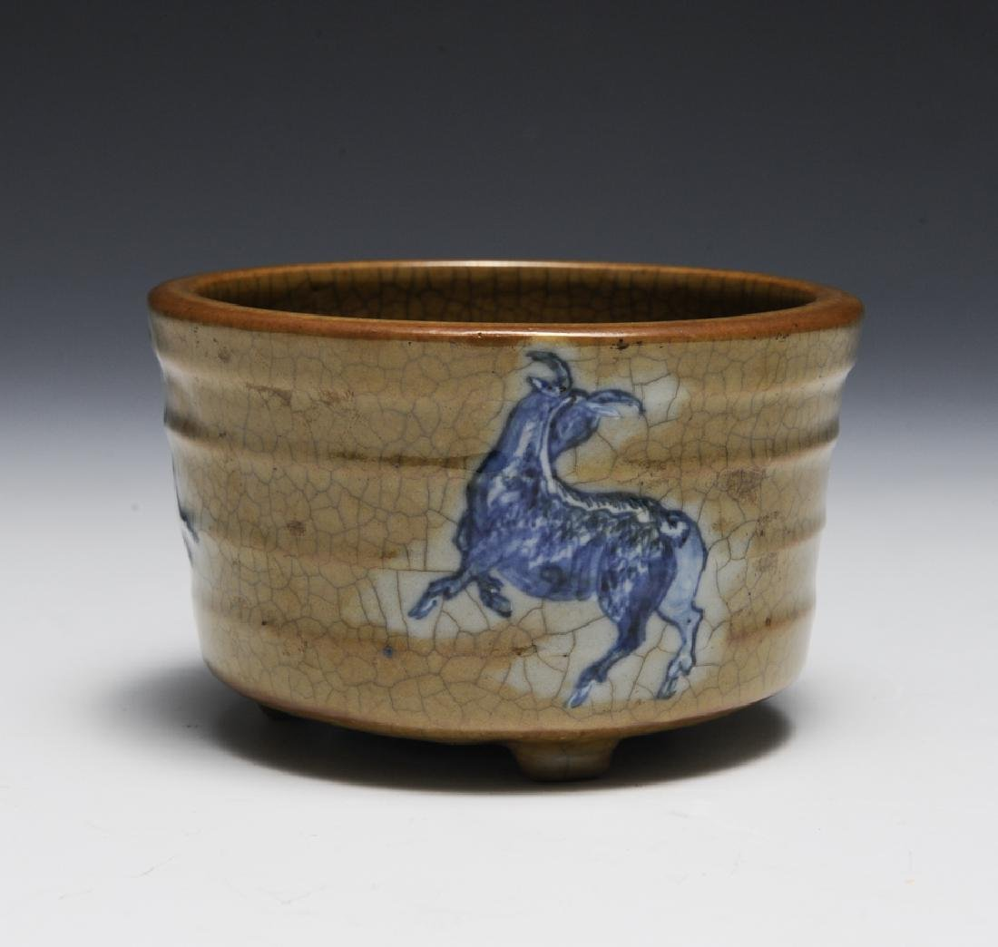 Chinese Ge Glaze Censer w/ Goats, 18th C - 2