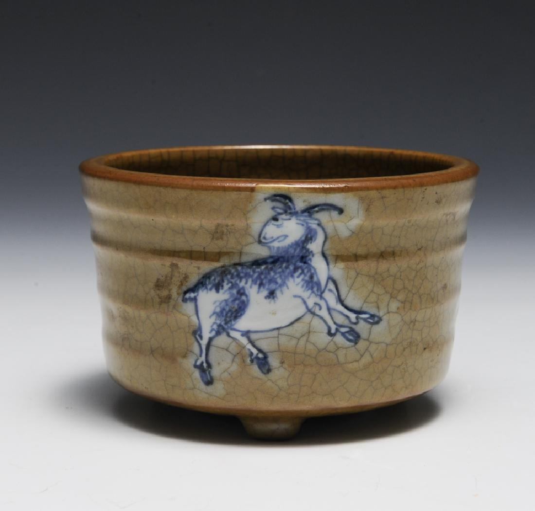 Chinese Ge Glaze Censer w/ Goats, 18th C - 3