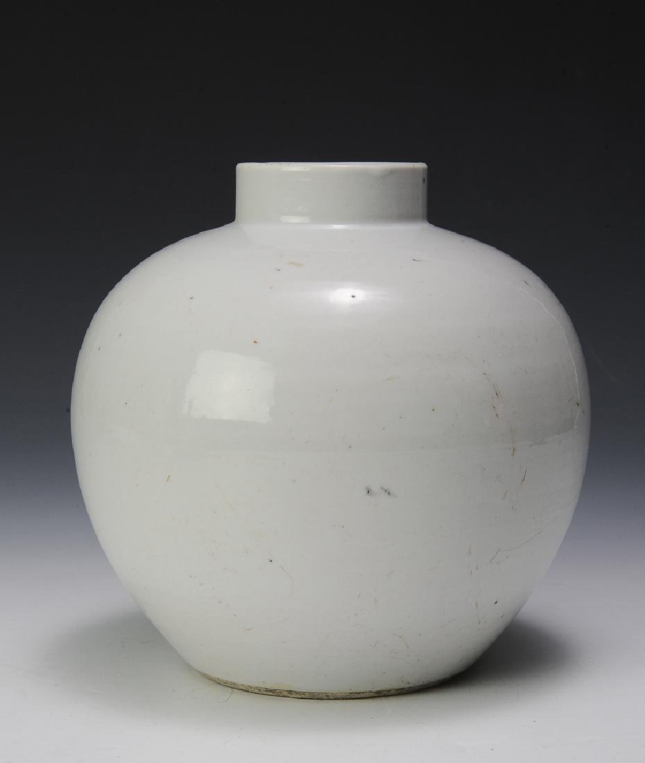 Chinese White Glazed Jar, 18th Century