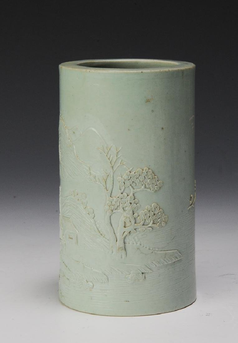 Brush Pot Carved w/ Landscape, Wang Bing Rong - 4