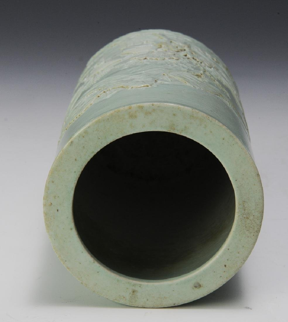 Brush Pot Carved w/ Landscape, Wang Bing Rong - 6