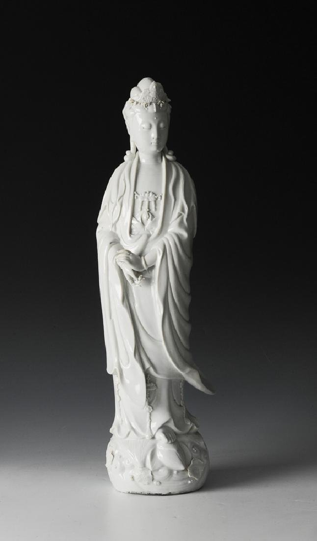 Chinese Blanc de Chine Statue of Guanyin, 19th C