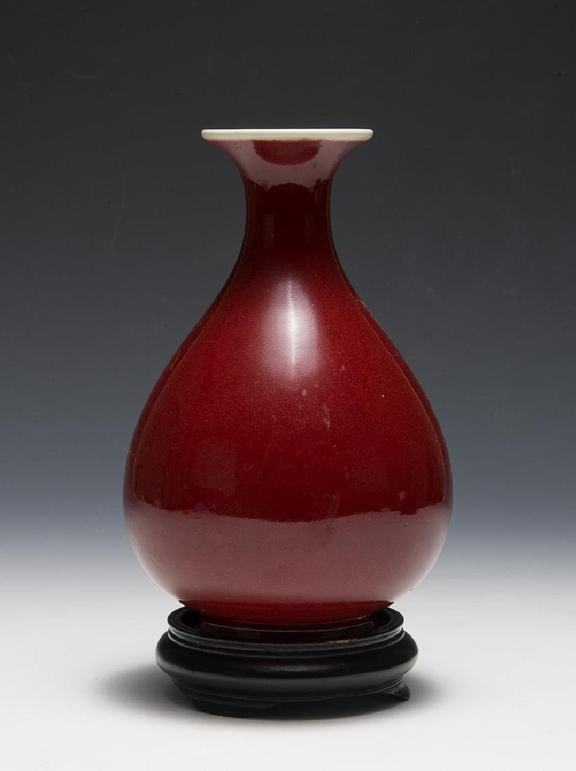 Chinese Red Glazed Vase w/ Wooden Stand, 19th C