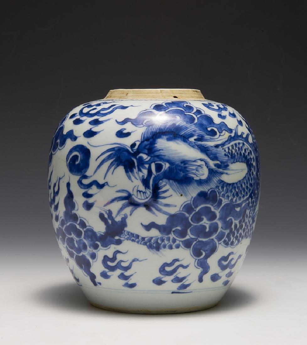 Chinese Blue & White Dragon Jar, 18th C