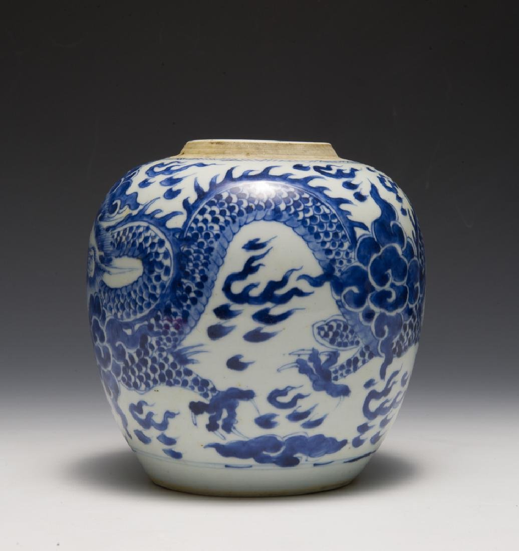 Chinese Blue & White Dragon Jar, 18th C - 2