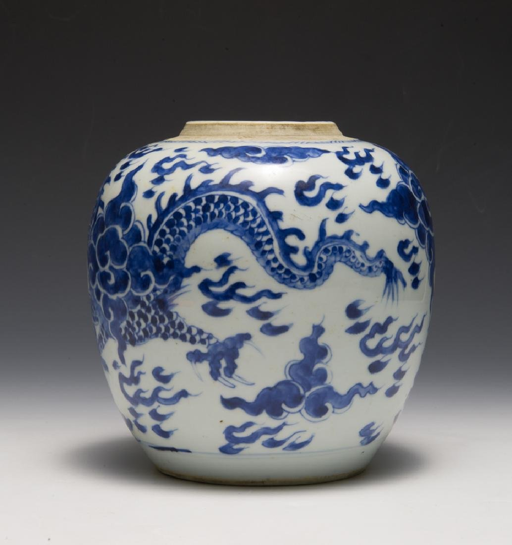Chinese Blue & White Dragon Jar, 18th C - 3