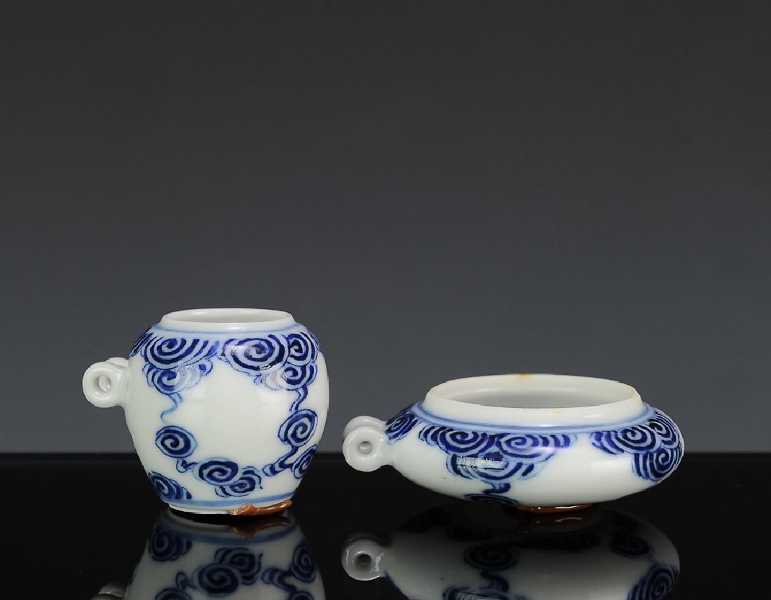2 Blue & White Porcelain Bird Feeders, 19th C