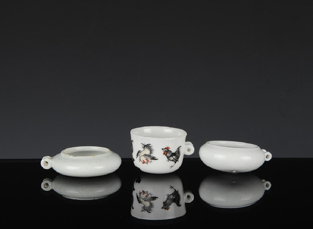 Group of 3 Chinese Bird Feeders, 19th-20th C