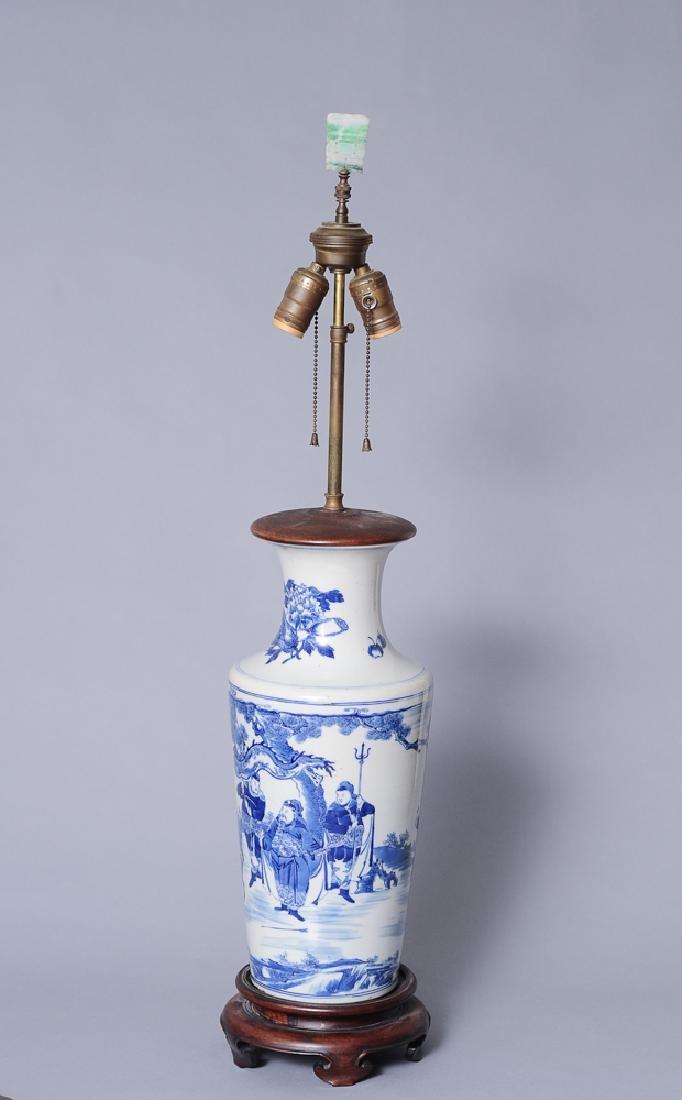 Blue & White Porcelain Lamp, Qing Dynasty