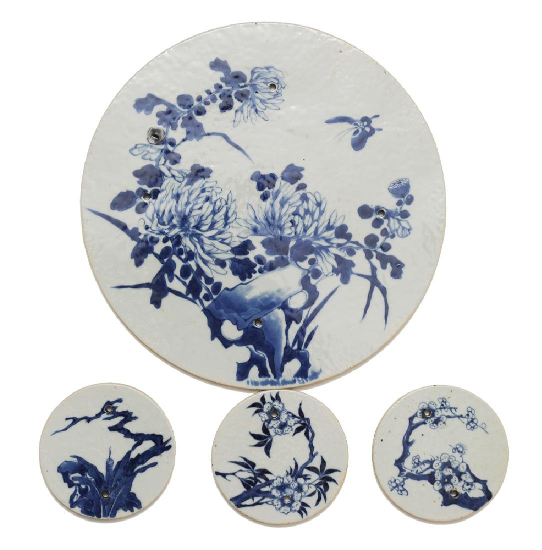 Group of 4 Chinese Blue & White Plaques 18 -19th C