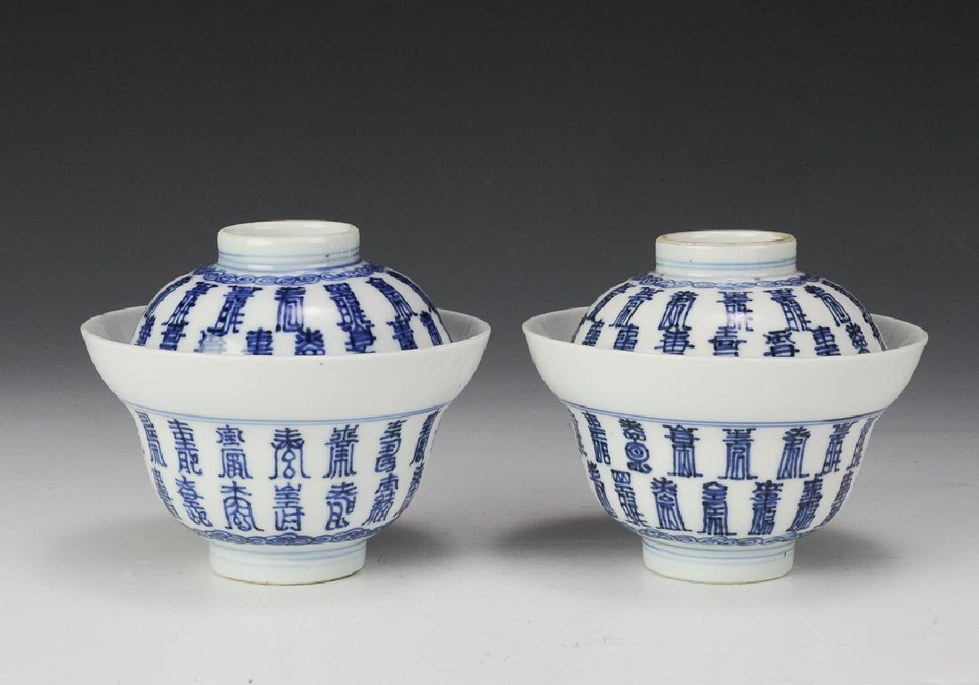 Chinese Pair of Blue & White Covered Bowls, 18th C.