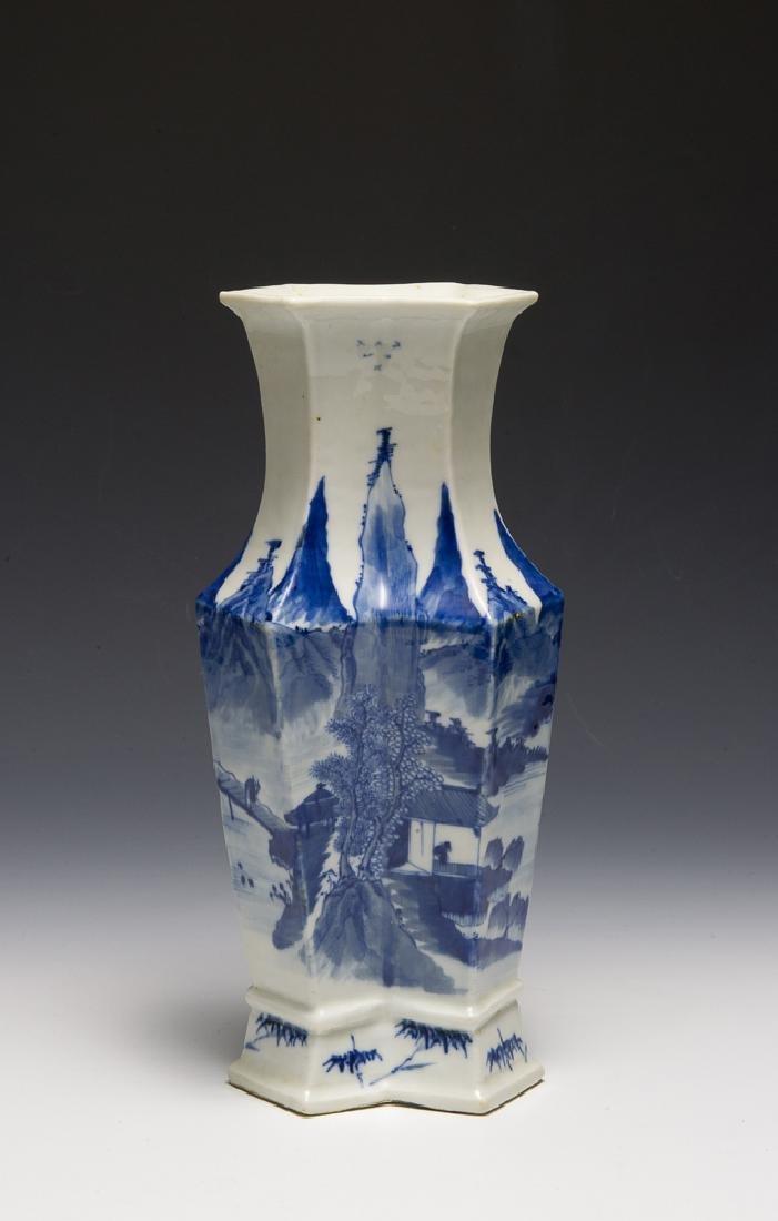 Chinese Blue & White Double Vase, 19th C