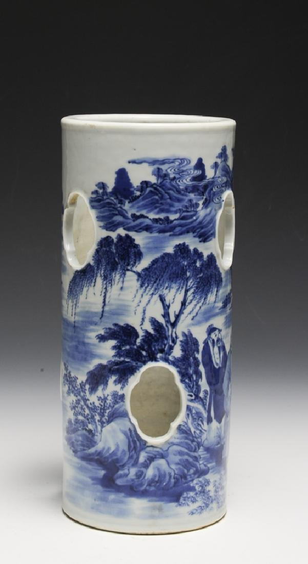 Chinese Blue & White Porcelain Hat Stand, 19th C - 2