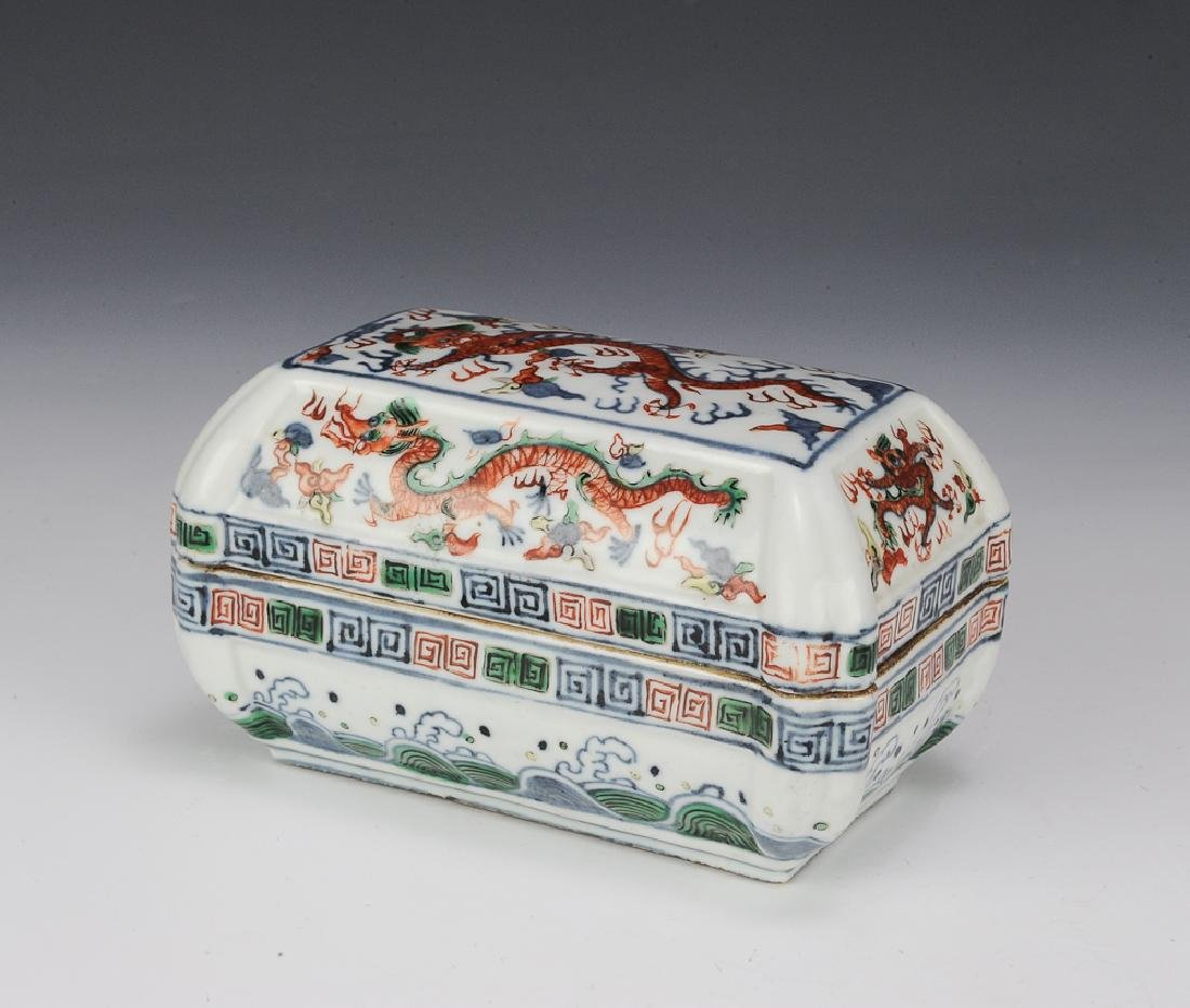 Chinese Famille Verte Lidded Box, Late 19th C