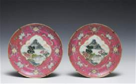 Chinese Pair of Pink Famille Rose Plates, 19th C