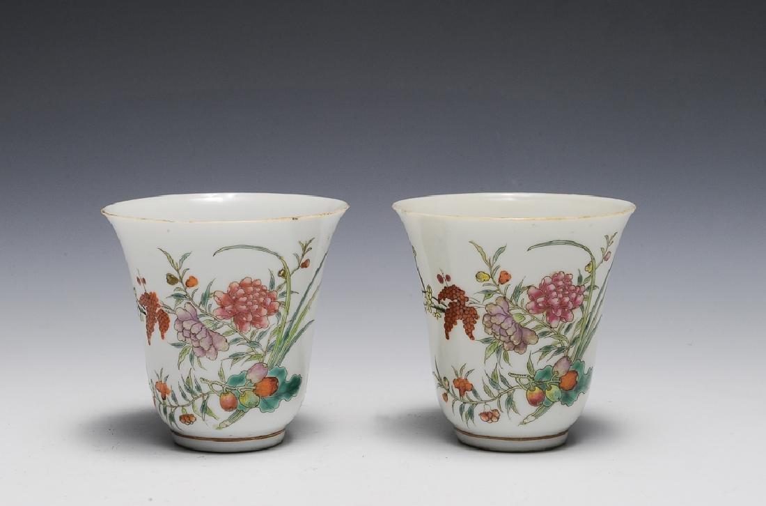 Pair of Chinese Porcelain Cups, 19th C.