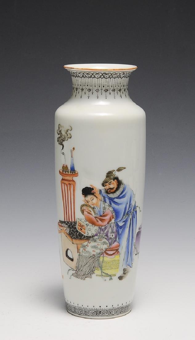 Chinese Famille Rose Vase w/ Zhong Kui, Republic