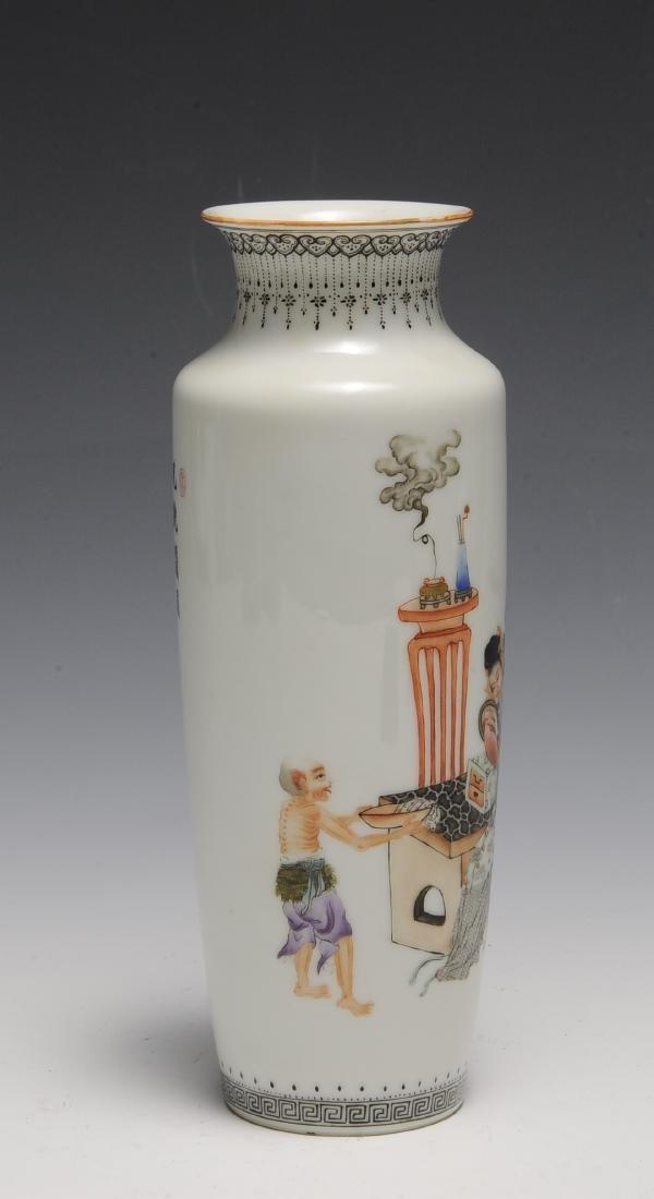 Chinese Famille Rose Vase w/ Zhong Kui, Republic - 2