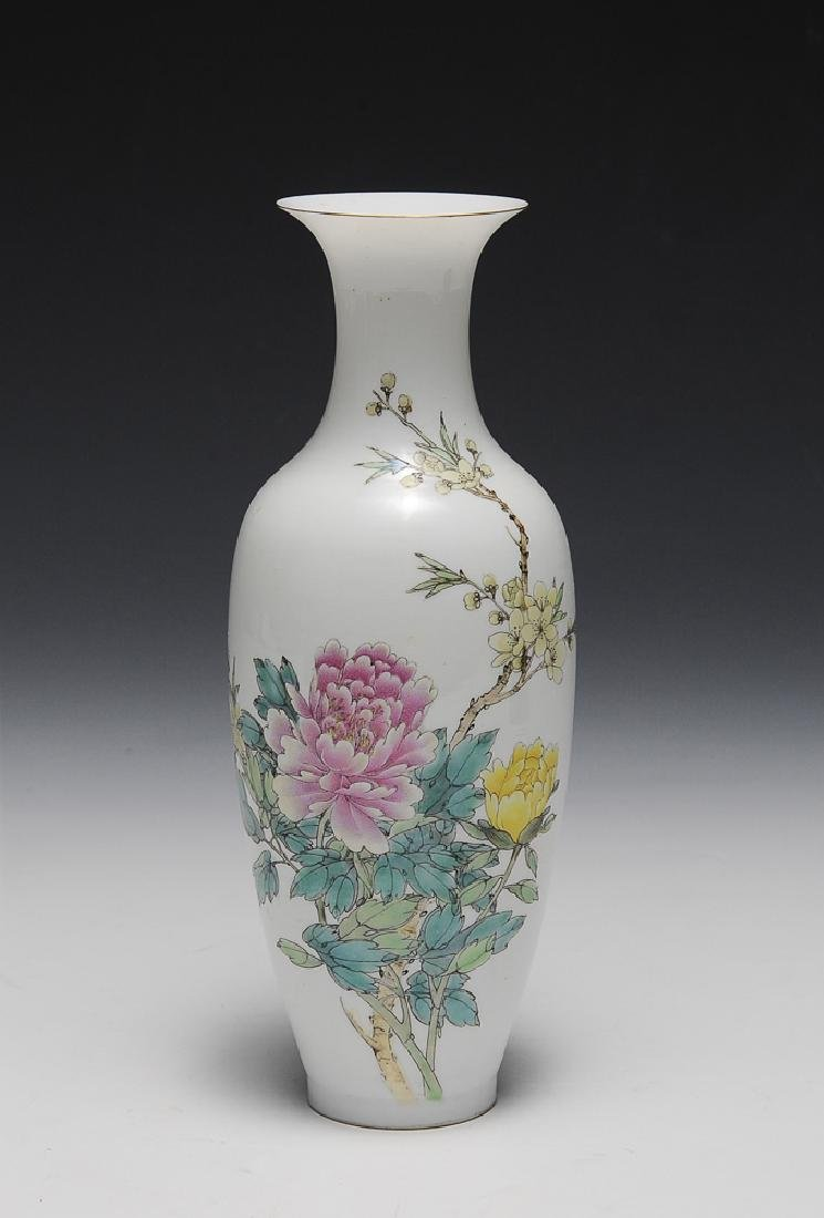 Chinese Famille Rose Vase w/ Flowers, 1960s-70s