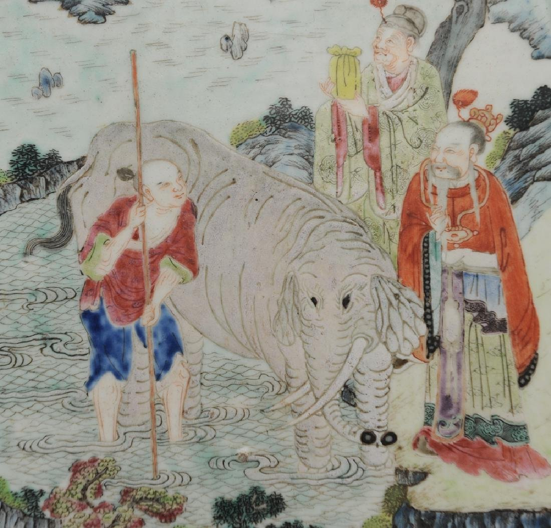 Chinese Famille Rose Plaque w/ Elephant, 19th C - 2