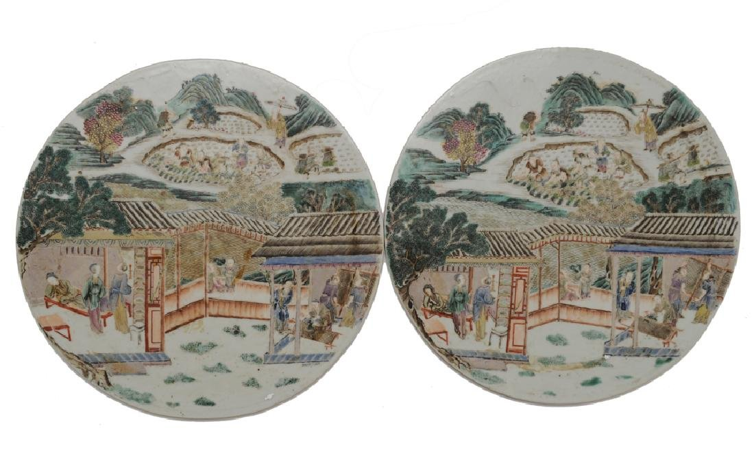 Pair of Famille Rose Round Plaques, Early 19th C