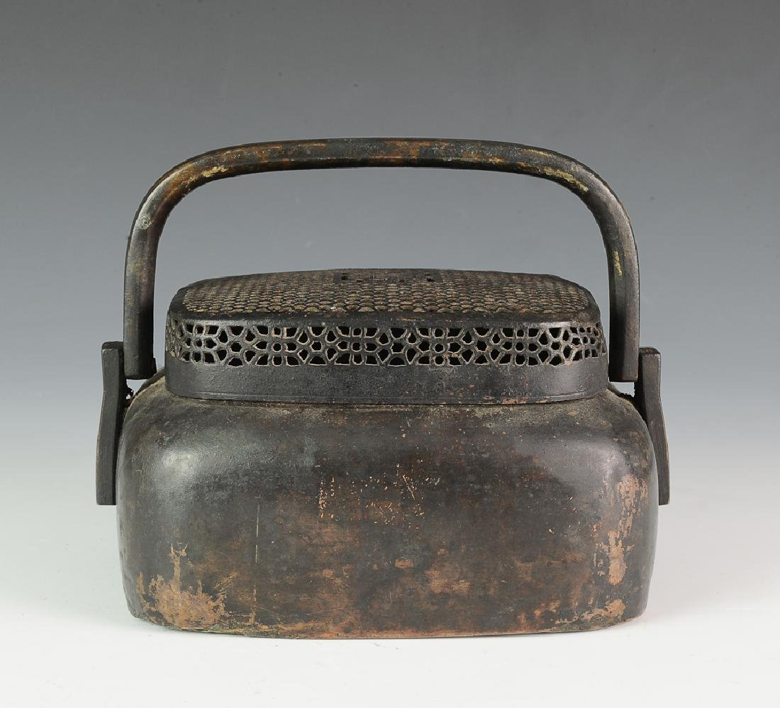Chinese Bronze Hand Warmer, Signed, 18th-19th C