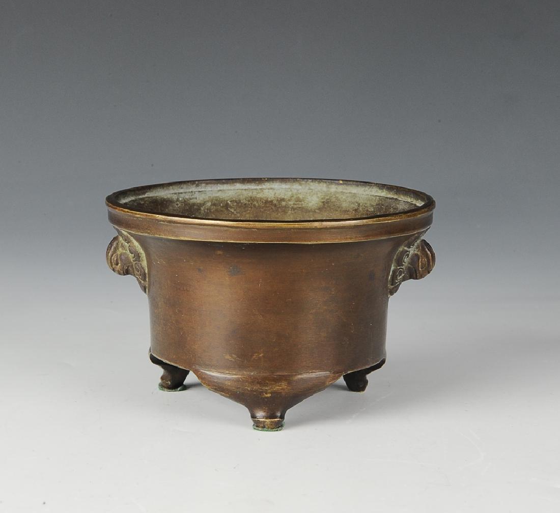 Chinese Bronze Tripod Incense Burner, 19th C.