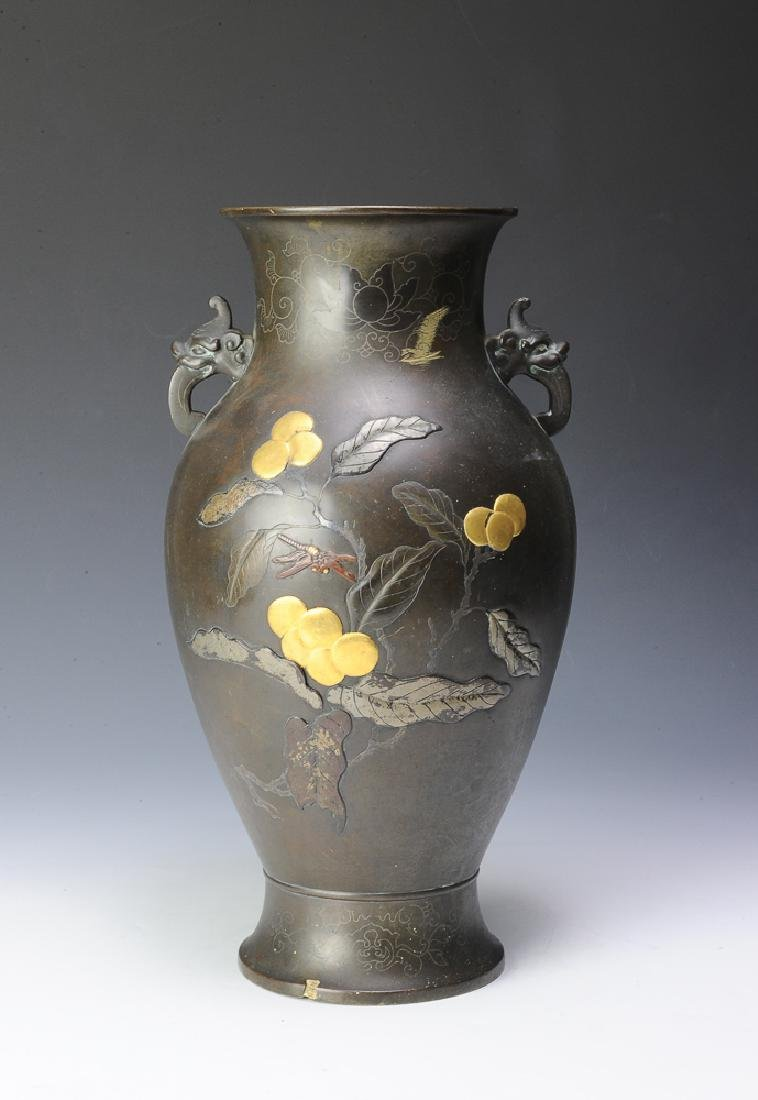 Japanese Bronze Vase w/ Peacock and Fruit, 19th C