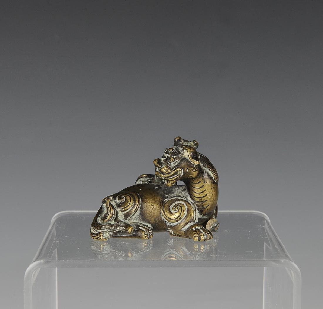 Gilt Bronze Beast Paper Weight, Ming Dynasty