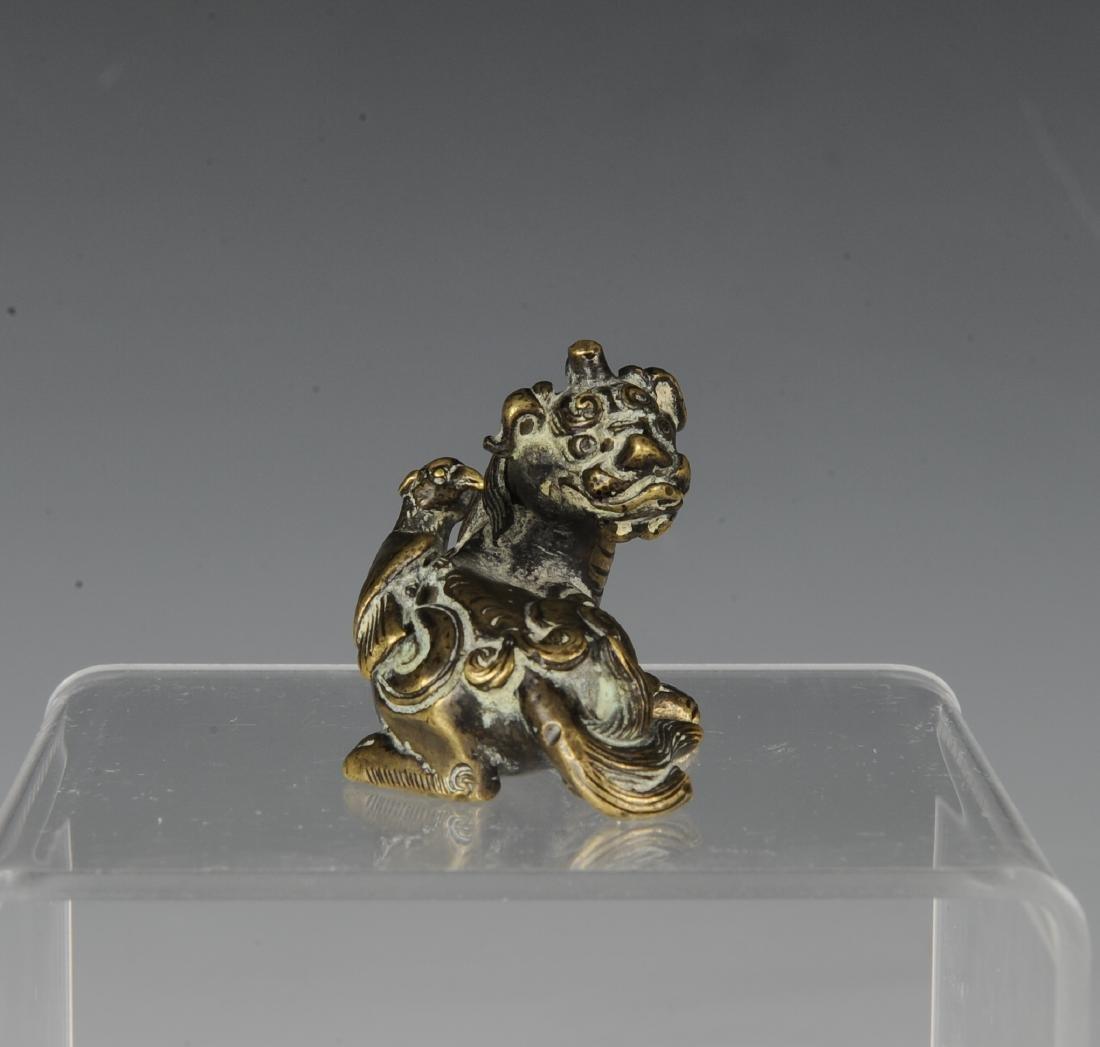 Gilt Bronze Beast Paper Weight, Ming Dynasty - 2